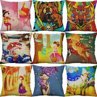 Cotton Linen Printing Deer Cartoon Print pillow case Home Decor Cushion Cover
