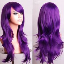 Ombre White Pink Cosplay Wigs Long Wavy Anime Party Full Wig Halloween Dress t54