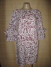 White Maroon Frill sleeve KAFTAN smock HIPPY boho Dress One size (8-12 best)