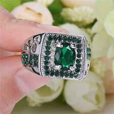 SZ 6 EMERALD & ACCENT CZ'S-WHITE GOLD FILLED RING BY COSTUME JEWELRY KING