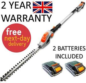 ELECTRIC CORDLESS HEDGE TRIMMER 2 X BATTERIES LONG REACH CUTTER POLE SAW 2.4M