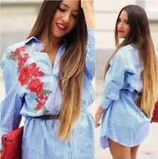 Zara Blue White Striped Tunic Shirt Dress With Patch Size XS UK 6 8