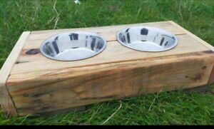 Small Dog/ Cat Bowl Station Including Bowls Wooden Rustic handmade