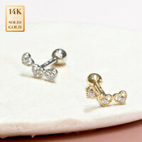 14K REAL Solid Gold Heart CZ Cartilage Daith Helix Tragus Conch Rook Stud earrin