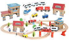 Holzeisenbahn Eisenbahn  Spielzeug 89 tlg mit Bateriebetriebene Lokomotive 9362