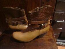 NEW! womens DJANOG JULIETTE  tan leather ankle boots SZ 37-6