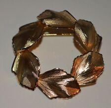 GoldTone Overlaid Leaf Textured Tie Tack Lapel Pin Brooch