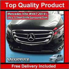 MERCEDES VITO W447 CHROME FRONT OUTER GRILLE KIT 2014+ 2 PCS S.STEEL FRAME TRIM