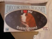 I Love My Basset Hound~Dog Decorative Magnet~New In Package~Made In Usa