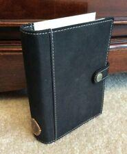 Filofax Chino Mini Pocket Organizer Black Snap Leather Planner Binder With Inserts