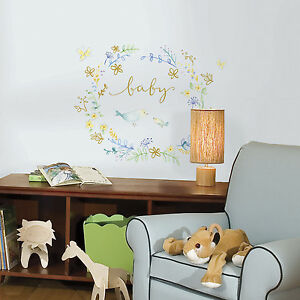 Baby Nursery Wreath Peel and Stick Wall Decals Removable and Reusable Stickers