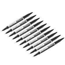 10 PACKS Double Ended Waterproof Permanent Oily Paint Marker Pen Set Black