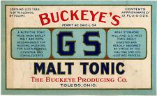 New listing Prohibition Buckeye's G S Malt Tonic Bottle Label Buckeye Producing Co Toledo Oh