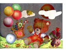 Cute Dressed Teddy Bear-Candy Balloon-Vintage Metallic Foil Novelty Postcard