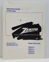 Vtg Zenith Vhs Video Recorder Operating Guide Manual Booklet VR2410 11 12 16 oop