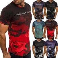 uomo slim O collo manica corta MUSCOLO Maglietta Camicie Casual T-shirt maglia