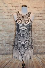 Modcloth Fearlessly Fancy Dress NWTD  Bariano 8 nude/black shift scallop pattern
