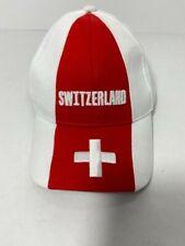 Switzerland White Red Baseball Cap Hat Umbrella Metal Clasp Adjustable VG