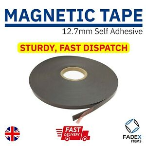Magnetic Tape, Self Adhesive Rolls Sticky Back Strips, 12.7mm or 25.4mm Wide