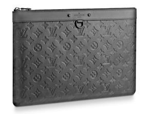 Louis Vuitton Discovery Pochette GM Shadow Calf Leather Clutch Laptop Case LV