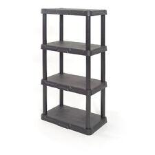"""Shelves 48""""H x 22""""W x 14.25"""" D, 4-Tier Black Plastic Freestanding Shelving Unit"""