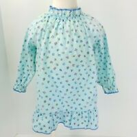 Vintage Girls Baby Dress Pastel Blue Floral Ruffles USA Made Size 18 Months