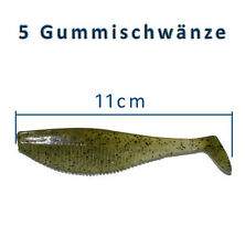 5 Gummifische 11cm Shads Gummischwanz Dorsch Heilbutt Angeln Angelhotspot X2