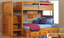 Discovery World Furniture Honey Twin over Full Staircase Bunk Bed