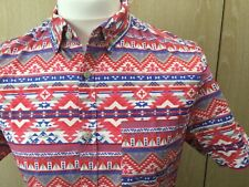 River Island Shirt Medium Blue Pink White Aztec Short Sleeve Cotton Smart VGC