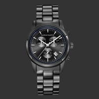 Mens Quartz Watch Black Case Casual Stainless Steel Band Date Display 6 Hands
