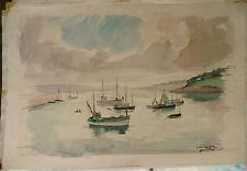 """Tableau Peinture Aquarelle PIERRE ABADIE LANDEL """" Le Port de Douarnenez""""  PAL18"""