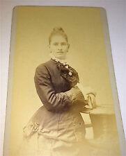 Antique Victorian American Fashion Woman, Locket, Cross & Book! Old RI CDV Photo