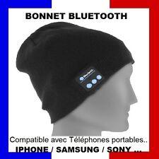 Bonnet Homme Femme Bluetooth Casque Pour Musique et Téléphone Sans Fil  Noir