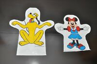 Set of 2 Vintage 1978 Walt Disney Plastic Hand Puppet Gloves Double sided Print