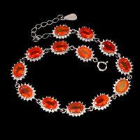 Oval Orange Fire Opal 7x5mm Cz 14k White Gold Plate 925 Sterling Silver Bracelet