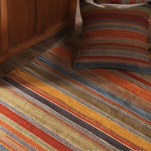 Fair Trade Ooty Kilim Hand Loom Rug Wool & Cotton Multi Colour Stripe Design