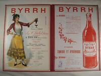 ANCIEN PORTE MENU ROUGE PUBLICITAIRE BYRRH RESTAURANT 1926 IMPRIMERIE BACHOLLET