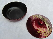 JAPAN ~LACQUER RED ~ LIDDED DISH ~ BAMBOO MOTIF ~ BLACK INTERIOR NICE
