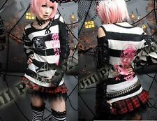 Black & White Striped Jumper With Black Sleeve Gothic Punk From GLP 71188