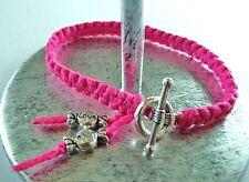 Bracelet noué Rose Fushia * fermoir Rond * Enfant * perles bonbons * Cadeau
