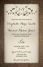Wedding Invitations Burlap & Leafy Flourish  50 Invitations & RSVP Cards
