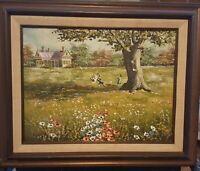 Vintage oil painting framed by Homer