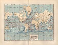 Meeresströmungen Weltmeere Ozean Meerestiefen  Weltkarte von 1896 Map