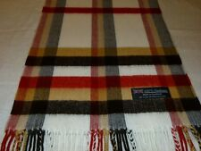 100% Cashmere Scarf Soft 72X12 Off White Black Scotland Wool Check Plaid K24 Men