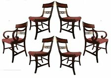 Set 6 Antique English Regency Styl Ebonized Gilded Carved Mahogany Dining Chairs