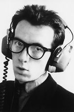 ELVIS COSTELLO B&W POSTER PRINT HEAD PHONE LATE 70'S