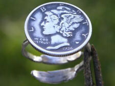 Signet ring Mercury dime coin various date sterling silver feather adjustable