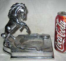 Antique Usa Ronson Horse Shoe Chrome Metal Smoking Tray Statue Sculpture Ashtray