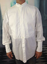 ERMENEGILDO ZEGNA Tuxedo Shirt 17 1/2 44 Bib Wing Tip Collar Formal White Cotton