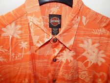 HARLEY-DAVIDSON SHORT SLEEVE HAWAIIAN SHIRT-MENS MEDIUM-ORANGE-USA MADE